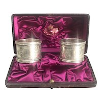 Josiah Williams Boxed Pair Of Sterling Silver Napkin Rings Antique Victorian London c1890