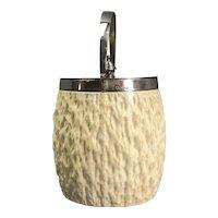 Hukin Heath Cream Pottery Sterling Silver Biscuit Barrel Victorian Antique c1900