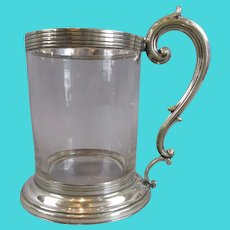Silver Plate & Glass Tankard Antique c1890s