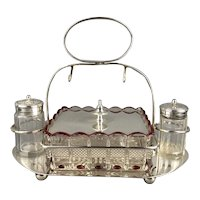 Silver Plate Cruet Set Clear Red Glass Butter Dish Salt Pepper Or Sugar Victorian Antique c1900