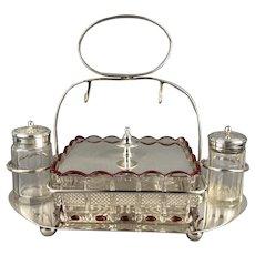 Silver Plate Cruet Set Clear Red Glass Butter Dish Salt Pepper Or Sugar Victorian Antique c1900