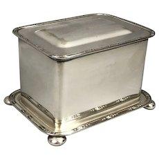 Silver Plate Biscuit Tea Coffee Box George V Georgian Antique c1920