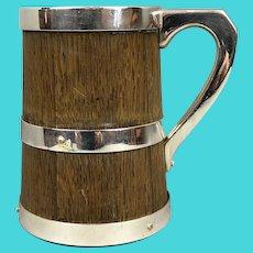 Oak & Silver Plate Pin Mug Tankard Victorian Antique c1890