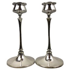 Pair Of Silver Plate Candlesticks English S & ST Victorian Antique c1880