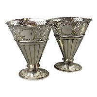 Pair Silver Plate Flower Vases Antique Victorian c1890