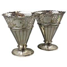 Pair Silver Plate Flower Vases Antique Victorian c1890