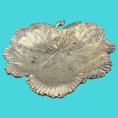 Silver Plate Leaf Shaped Dish Antique Victorian c1890