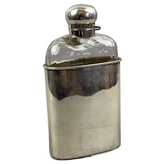 Silver Plate And Cut Glass Flask Vintage Art Deco c1930