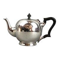 Silver Plate Wood Handle Teapot William Hutton Antique Victorian c1900