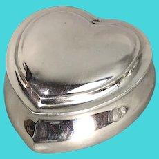 Sterling Silver Heart Shaped Pill Jewellery Box by Matthews Antique Art Nouveau Birmingham c1902