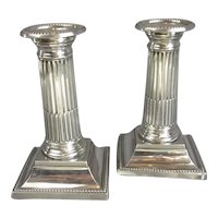 Pair Of Sterling Silver Candlesticks Antique Edwardian Chester 1903