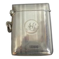 Sterling Silver Vesta Case Antique Edwardian Birmingham 1914