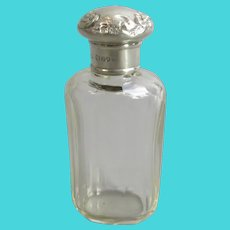 Sterling Silver And Cut Glass Scent Bottle Antique Edwardian London 1908
