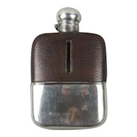 Silver Plated And Leather Covered Hip Flask Antique Edwardian c1910