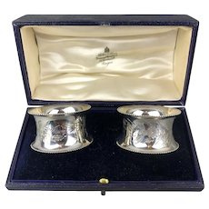 Boxed Pair Of Sterling Silver Napkin Rings By J.S.Ltd Birmingham Edwardian Antique  c1910