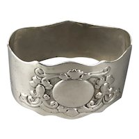 Sterling Silver Arts & Crafts Napkin Ring By GJDF Edwardian London Antique c1904