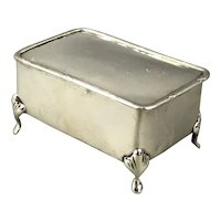 Sterling Silver Jewellery or Pin Box George V Antique Georgian c1919