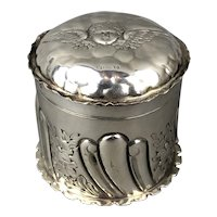 William Naul Sterling Silver Pill or Jewellery Box Art Nouveau Antique Victorian Birmingham c1900