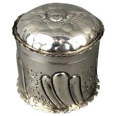 William Naul Sterling Silver Pill or Jewellery Box Art Nouveau Antique Victorian Birmingham c1900