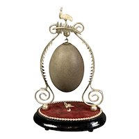 Silver Plate Decorative Emu Egg Antique Victorian c1890