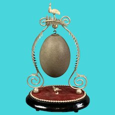Silver Plate Decorative Emu Egg Antique Victorian c1890