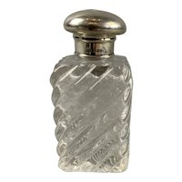 Sterling Silver Top Cut Glass Perfume Scent Bottle Antique Victorian London c1874