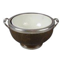 Oak & Silver Plated Wine Cooler Serving Bowl Antique c1900