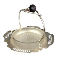 Silver Plate & Cut Glass Butter Or Hors D'oeuvre Purple Thisle Handle Dish Antique c1910