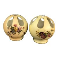 Pair Of Royal Worcester 7 Hole Vases Victorian Antique c1900