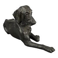 Bronze Statue Of Relaxed Hound Dog Vintage c1980