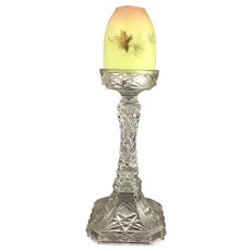 Burmese Shade on Cut Glass Candlestick Fairy Lamp Antique Victorian c1880