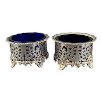 Pair Of Silver Plate Elkington Salt Blue Glass Vintage c1930