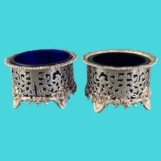 Pair Of Silver Plate Elkington Salt Blue Glass Vintage c1930