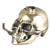 Sterling Silver Skull Pill Box Fob Vintage c1980