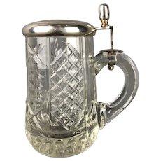 Silver Plate & Cut Glass Tankard Antique Victorian c1886