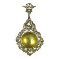 Ornate Silver Plated Brass Tea Strainer Antique c1900