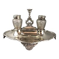 Elkington Sterling Silver Cut Glass Inkwell Antique Victorian Birmingham 1874