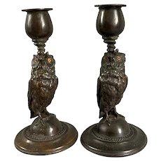 Pair Of Bronze Owl Candlesticks Vintage Mid Century c1950