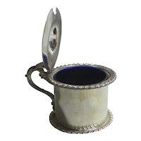 Old Sheffield Silver Plate Mustard Pot Cobalt Blue Liner Antique Georgian c1830
