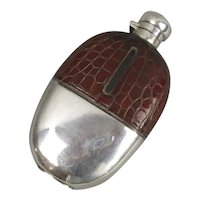 Silver Plate And Embossed Crocodile Leather Hip Flask Antique Edwardian c1905