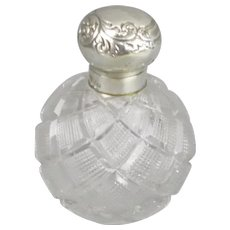 Sterling Silver And Cut Glass Scent Bottle Antique Victorian Birmingham 1887