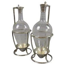 Sterling Silver & Glass Oil & Vinegar Bottles in Stands Antique c1864