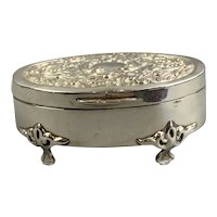 Sterling Silver Jewellery Box Antique Art Nouveau Birmingham 1905