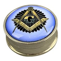 Continental Sterling Silver Pill Box With Masonic Enamel Vintage c1930