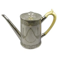 Silver Plate Coffee Pot Antique Victorian c1890