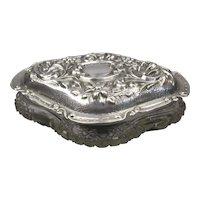Sterling Silver And Cut Glass Dressing Table Jar Antique Edwardian Birmingham 1908