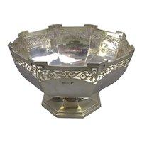 Octagonal Sterling Silver Bowl Antique Edwardian Sheffield 1915