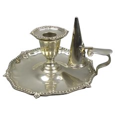 Silver Plate Chamberstick With Snuffer Antique Victorian c1890