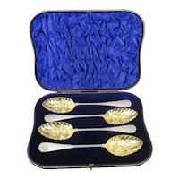Four Sterling Silver Berry Spoons In Leather Fitted Case Antique Edwardian London 1903