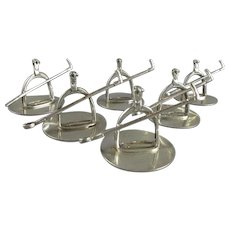 Set Of 6 Sterling Silver Riding Crop & Stirrup Menu Holders Contemporary c2001